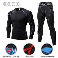 Sport Sets Men Running Shirt Bodybuilding Suit Compression Tights MMA Rashgard Gym T Shirt Men Fitness Leggings Joggers Cycling