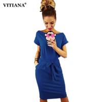 VITIANA Women Loose Casual Pencil Dress Female 2018 Summer Black Short Sleeve Knee Length Elegant Belt