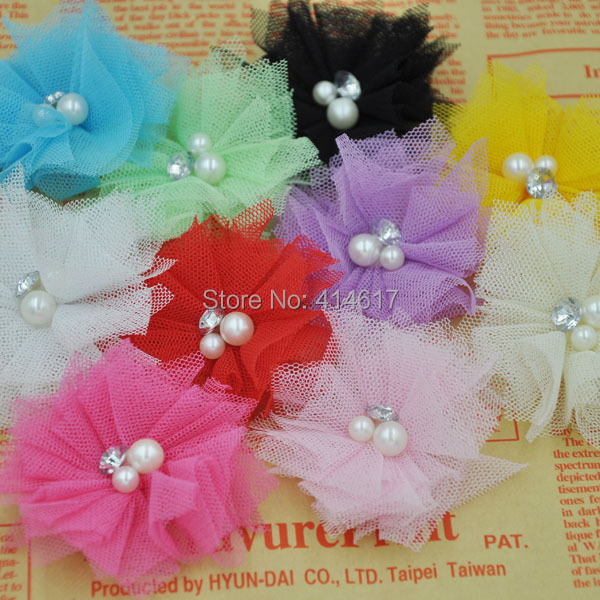 Free Shipping! 10pcs/lot 2.5'' Mini Tulle Mesh Flowers With Rhinestone Pearl Center <font><b>Poof</b></font> Flowers Headband Hair Accessories A260 image