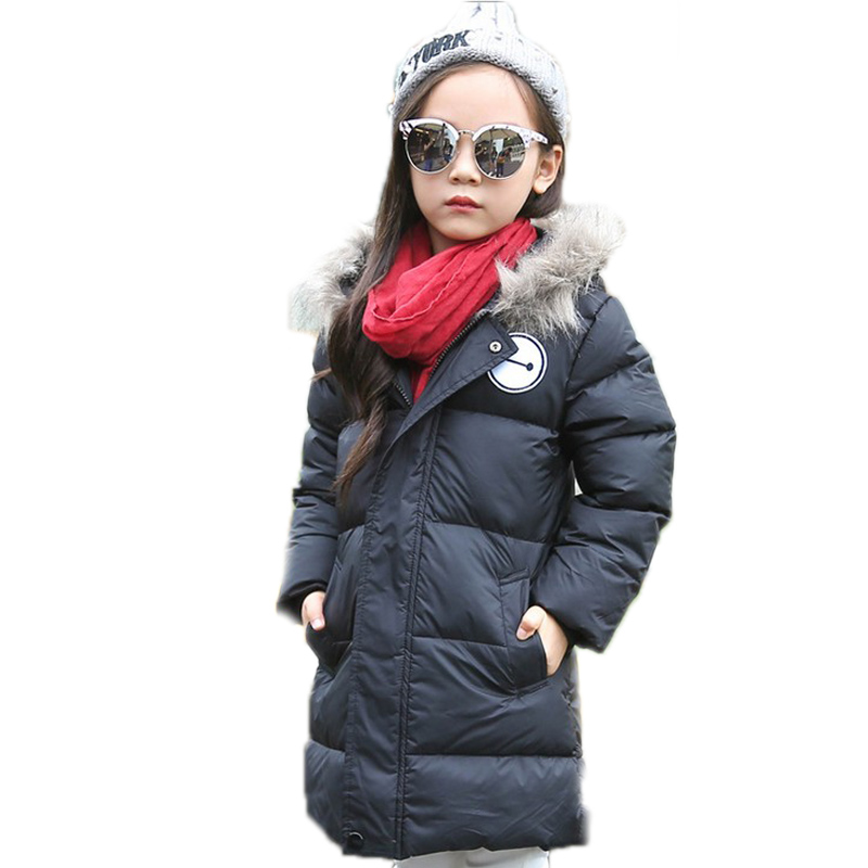 2018 new girls down jacket medium long solid kids winter jacket hooded light white duck down children's winter down jackets 2018 girl winter jackets kids winter jacket solid long section girl duck down jacket big collar hooded children outwear jackets