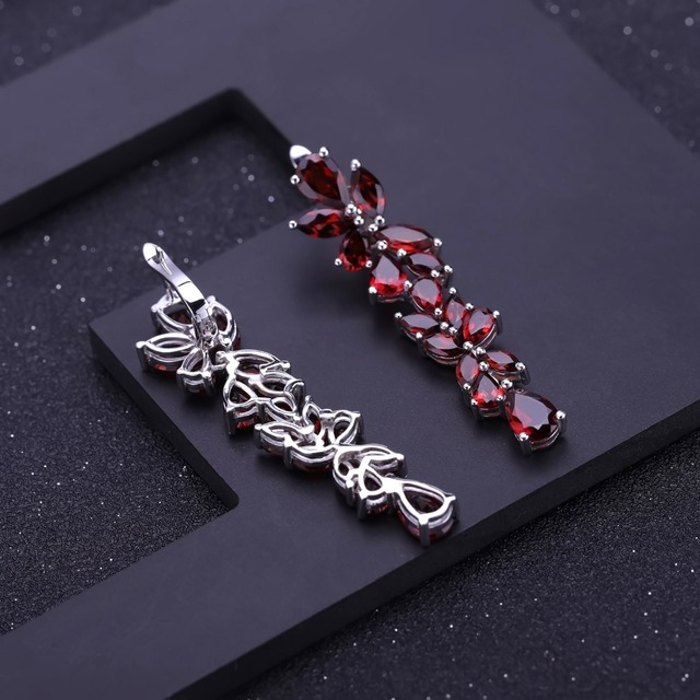 GEM'S BALLET 20.35Ct Natural Red Garnet Earrings 925 Sterling Sliver Leaves Branches Drop Earrings For Women Engagement Jewelry