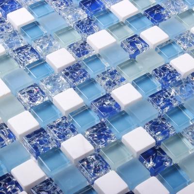 blue white glass mosaic tiles EHGM1049B for swimming pool bathroom ...