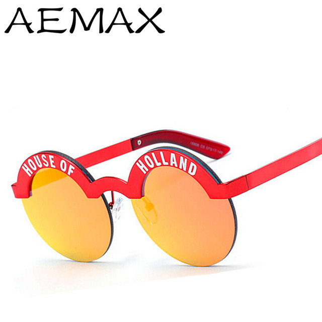 3661b128ba6b8 AEMAX New 2016 House of Holland Fashion Round Sunglasses Men Women Luxury  Brand Designer Vintage Sun