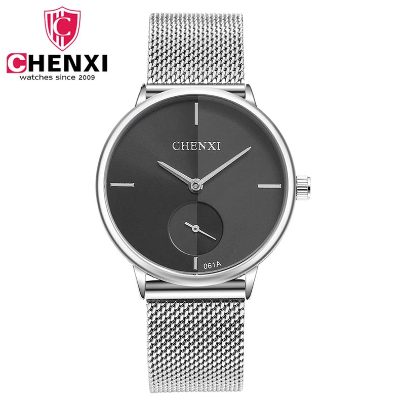 CHENXI Simple Style Women Watches Ultra Thin Stainless Steel Ladies Wristwatch Mesh Band Quartz Watch Analog Dial Female Clock belbi simple style steel mesh women watch top brand luxury quartz ladies watches elegant fashion dress analog wristwatch clock