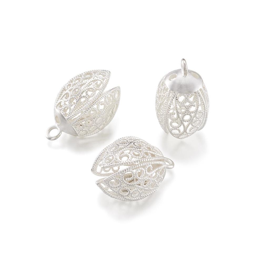 20 pc laiton creux fleur pendentif Bails trouvailles charmes fermoirs collier à faire soi-même fabrication de bijoux sans Nickel argent plaqué 25x16x15mm