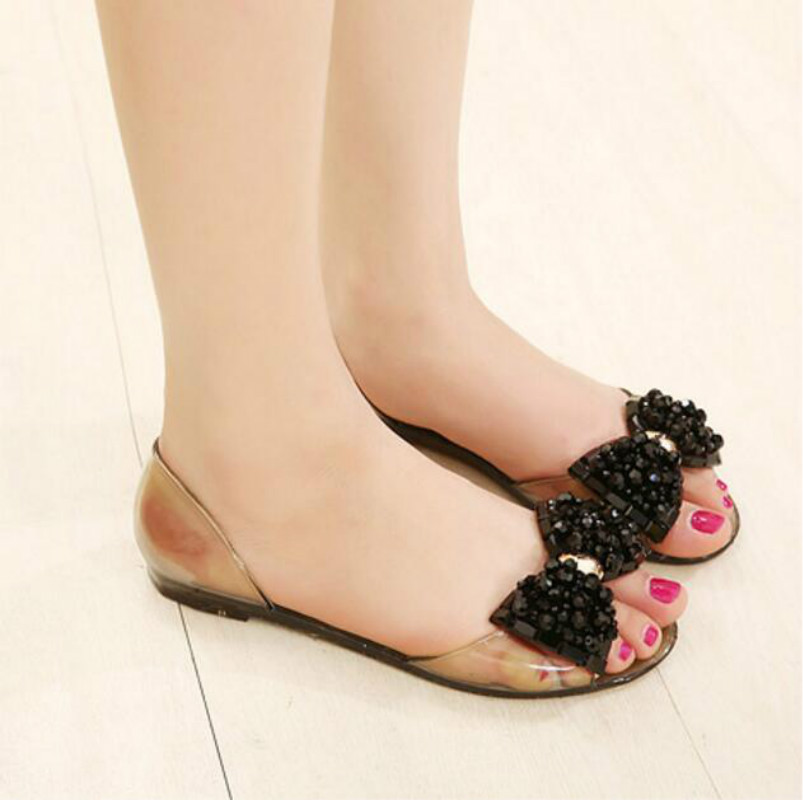 011f581032c Melissa Crystal Bling Bow Jelly Shoes Sandals Women s Flat Heel Rhinestone  Transparent Plastic Shoes Flat -in Women s Sandals from Shoes on  Aliexpress.com ...