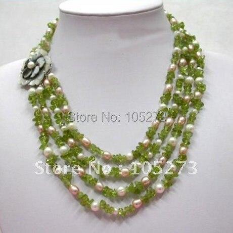 Superbe collier péridot 4Row blanc rose perle d'eau douce rouge vert 18 '-20 pouces mode bijoux pour femmes fille nouvelle livraison gratuite
