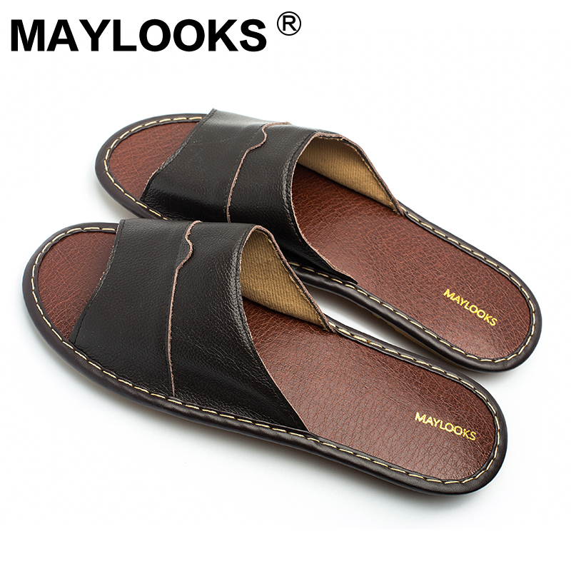 Men's Slippers Spring And Summer genuine Leather Home Indoor Slip - Men's Shoes - Photo 4