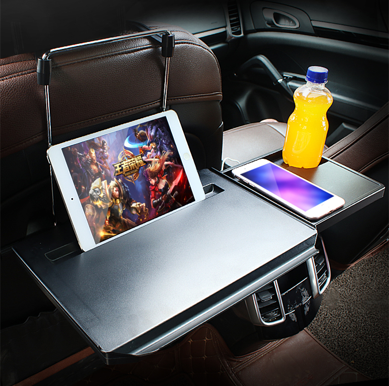 Car Tray Computer Desk Collapsible Folding Saving Place Design Multi function Holder Hanger Rear Seat Dining