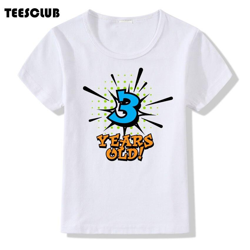 Children Birthday Present Number 1 5 Years Old Print T Shirt For Kids Casual Summer Tshirt Boys Girls Short Sleeve Tops