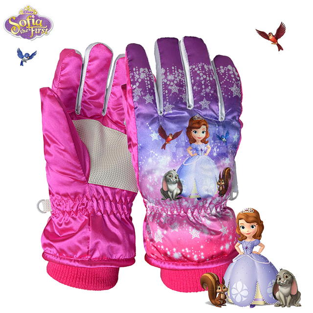 2017 Children Winter Snowmobile Ski Gloves kids Girls Waterproof Skiing Snowboarding Gloves windproof lovely Cartoon Sofia