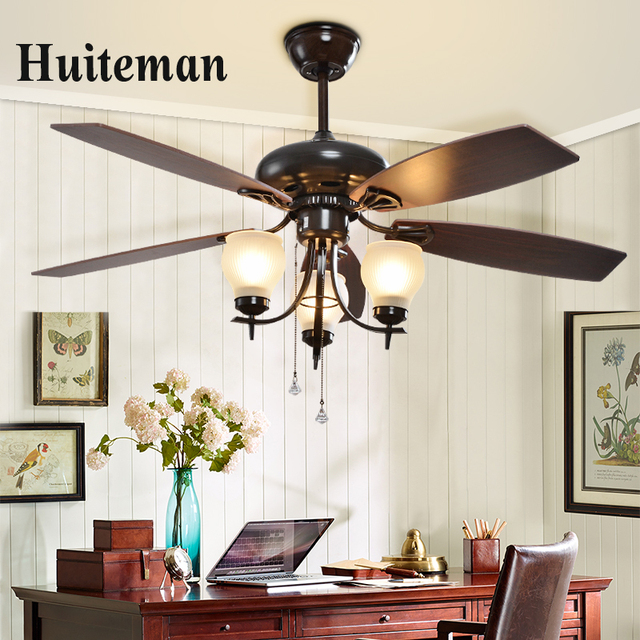 European Style Lamp Fan American Retro Wood Leaf Remote Control Chandel Light Ceiling