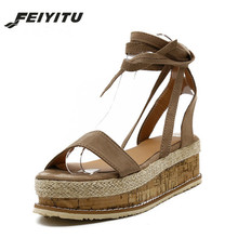 FeiYiTu Summer Wedge Espadrilles Women Sandals Open Toe Platform Woman Lace Up Gladiator Black Plus Size 35-43