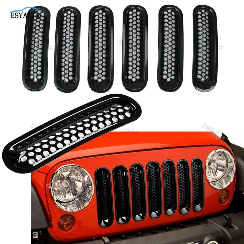ABS Front Mesh Grille Insert Kit 7 PCS Grill Guard Off Road Accessories for Jeep Wrangler JK for Rubicon for Sahara 2007-2016