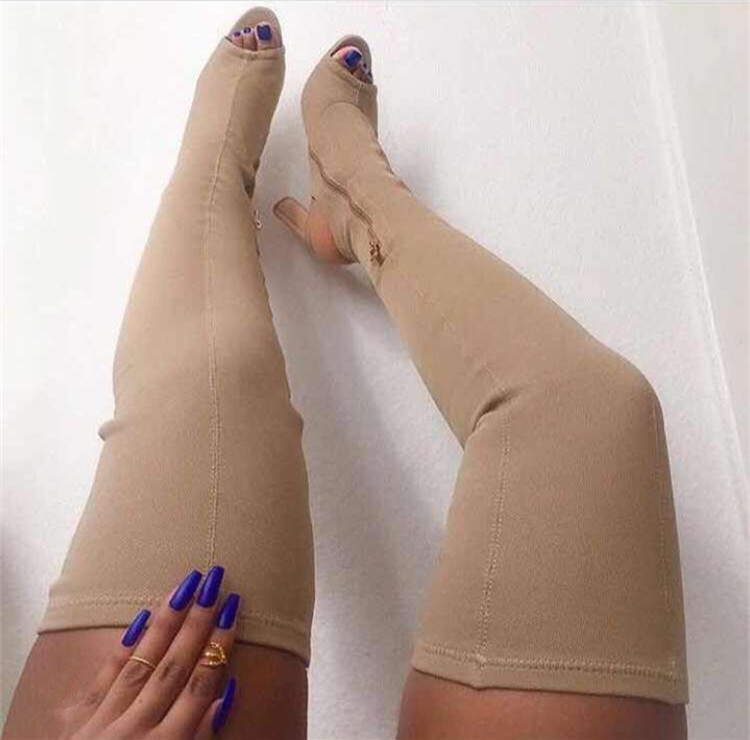 beautiful Designer Sexy Stretch Fabric Gladiator Over Knee High Heels Women Sandals Boots 2017 Celebrity Shoes Women Boots Woman sweet high heels sandals beautiful