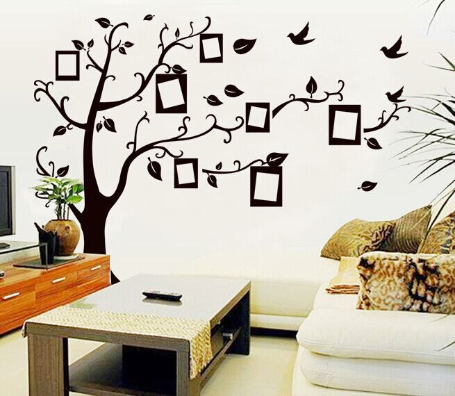 Online Shop 1set Large Size 90*120cm Black Color Family Tree Sticker Wall  Decal U0026 Photo Frame Tree Stickers For Living Room Wall Decor | Aliexpress  Mobile