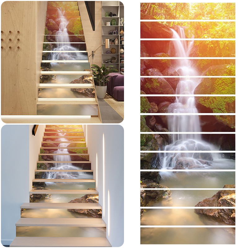 6//13pcs 3D Sunshine Waterfall Stairway Stickers Wall Home Decor Room Decoration