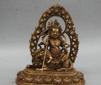 9 ''China Tibet Vaishravana Buddha Fahrt Lion Tier Bronze Statue dekoration bronze factory outlets-in Statuen & Skulpturen aus Heim und Garten bei