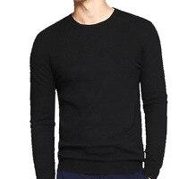 На осень зиму мужские Длинные рукава Круглая горловина тонкий штуцер вязаный короткий свитер Топ туго рубашки