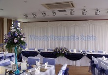3M x 6M Silk White Wedding Backdrop with top swag wedding stage curtain drape