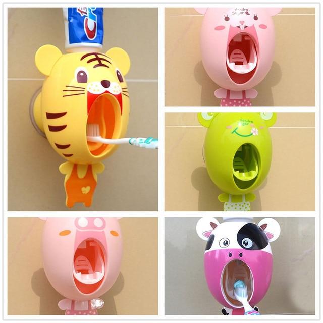 Creative Cartoon Half Automatic Toothpaste Dispenser Wall Mount Stand Bathroom Sets Toothbrush Holder Bathroom Accessories