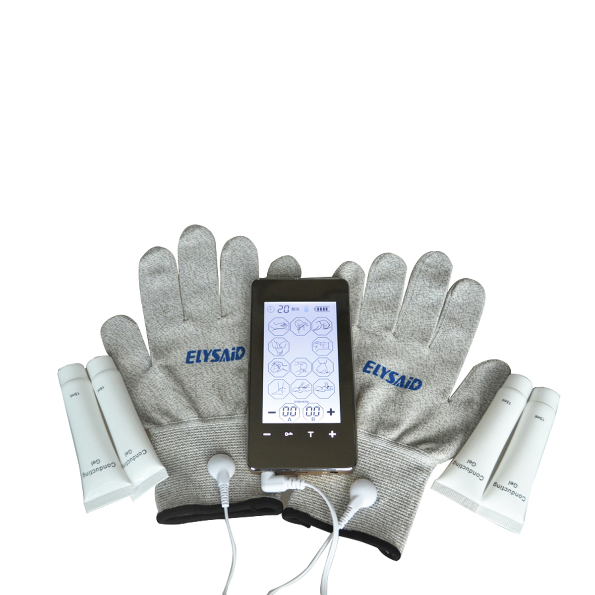Dual Channel Touch Screen Smart Electronic Pulse Massager 12Mode Electro Device With Conductive Glove And 4 Pcs Conducting Gel Dual Channel Touch Screen Smart Electronic Pulse Massager 12Mode Electro Device With Conductive Glove And 4 Pcs Conducting Gel