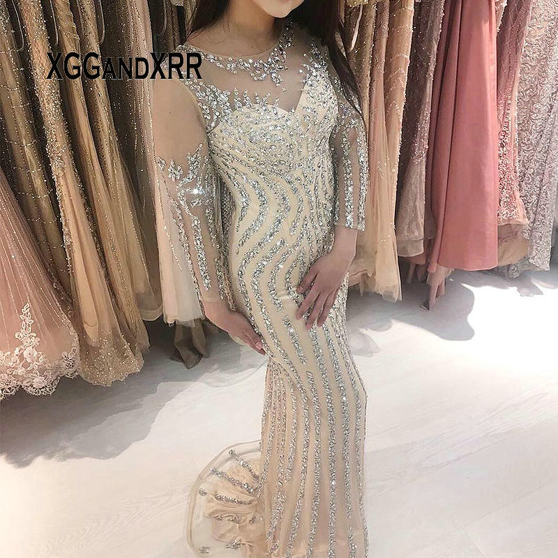 Luxury Mermaid   Evening     Dress   3/4 Sleeves Tulle Heavy Beading Crystal Long Prom   Dress   Sweep Train Woman Formal Gala Party Gown