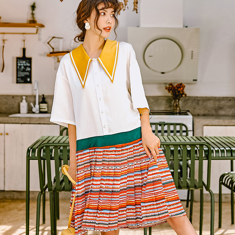 LANMREM 2019 Summer fashion new contrast color fake two pieces dresses for women Pullover turn down