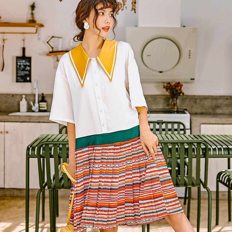 LANMREM 2019 лето мода новый контрастный цвет поддельные платья из двух частей для женщин пуловер отложной воротник половина рукава YH35003