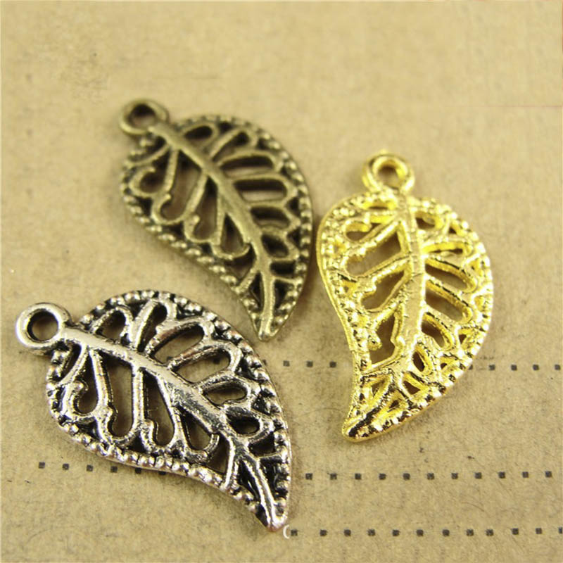 50Pcs Leaves Filigree DIY Accessories Metal Alloy Crafts Connector For Jewelry Making Necklace Charm 9x17mm Gold Color Findings