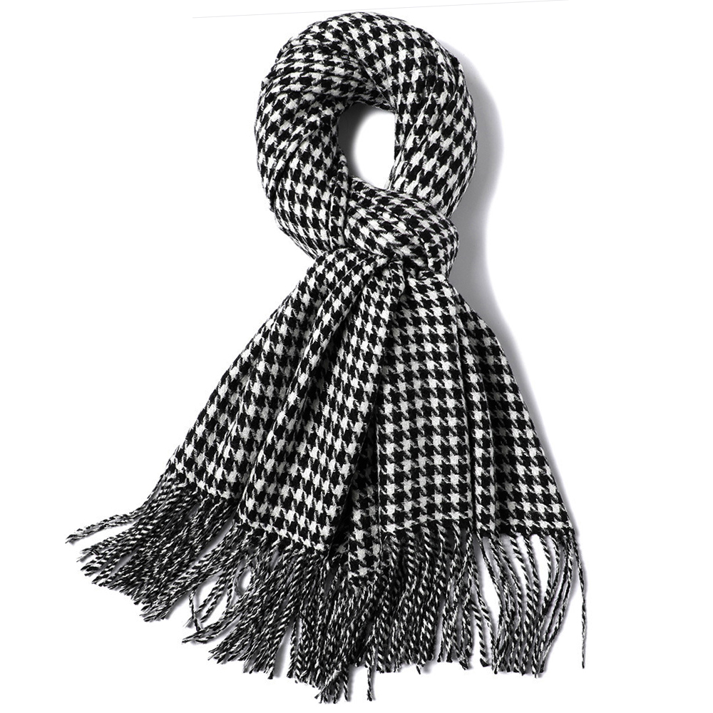 Women Or Men Classic Houndstooth Scarf Shawl Wraps Long Neckwear Houndstooth Soft Acrylic Scarves
