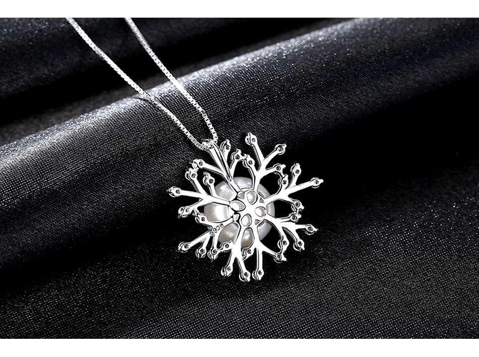 Simple Silver Pendant Natural Pearl Snowflake Personality Necklace Female AAA Zircon Item цена и фото