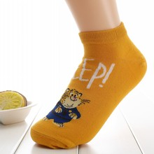 Japanese Version Shallow Mouth Solid Color Cotton Short Sock Cartoon Bear Breathable Comfortable Women Fshion