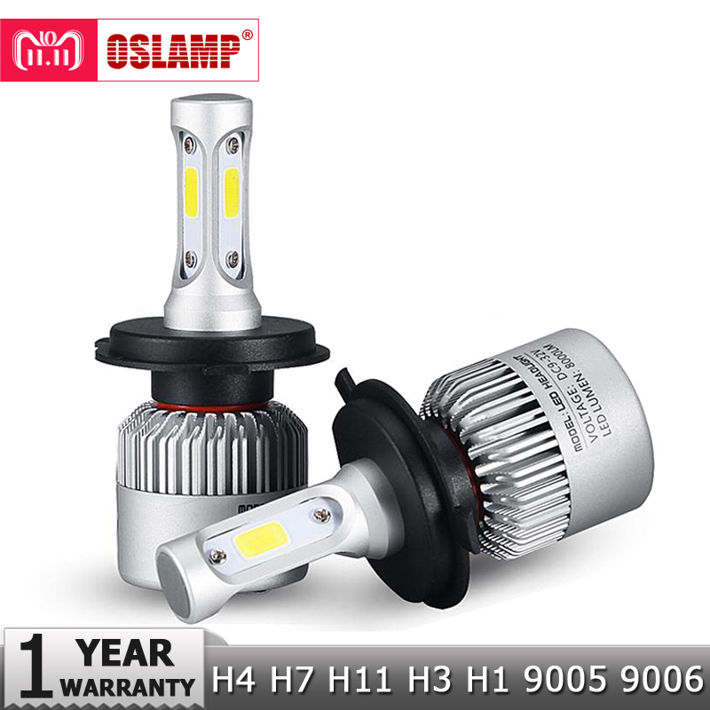 Oslamp H4 H7 H11 H1 H3 9005 9006 COB Car LED Headlight Bulbs Hi-Lo Beam 72W 8000LM 6500K Auto Headlamp Led Car Lights DC12v 24v цены