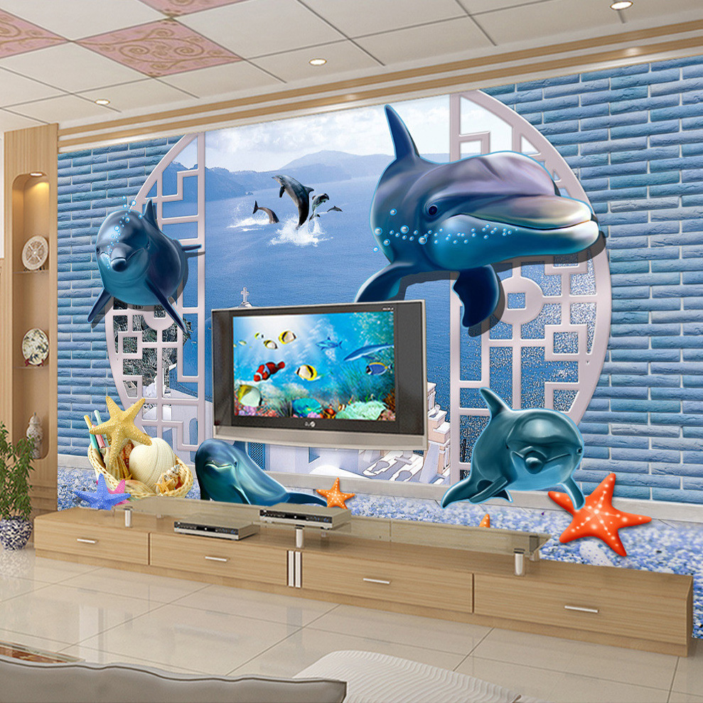 Custom Wall Mural Wallpaper 3D Stereo Dolphin Starfish Sofa TV Background Photo Wallpapers For Living Room Murales De Pared 3D