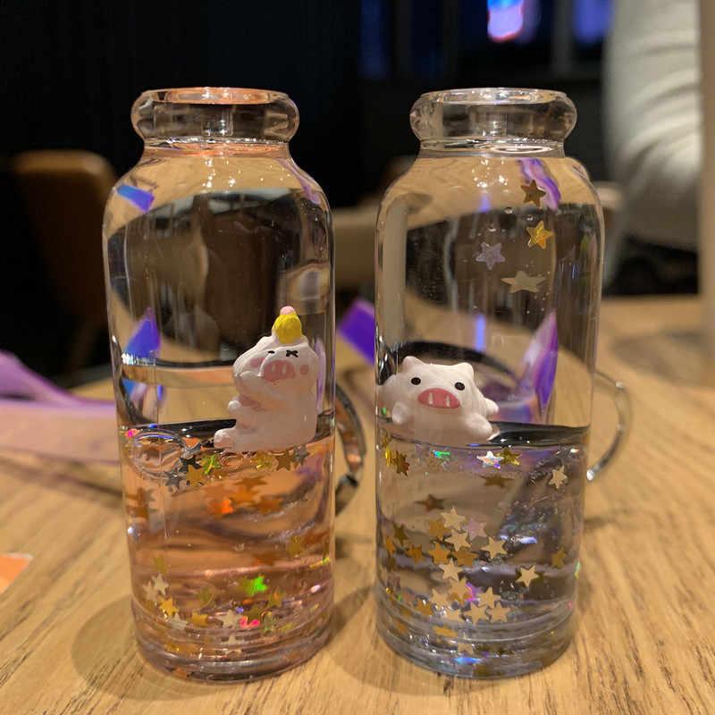 Atualizar macarons criativo bonito porco lantejoulas acrílico chaveiro mover líquido gota de óleo descompressão deriva garrafa jóias melhor presente