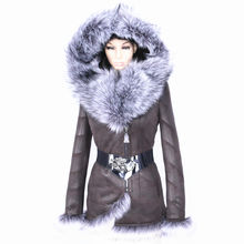 Winter Direct supply from factory Cold resistant slim 2017 Faux women sheepskin coats Fashion Faux fox collar Luxury Wholesale