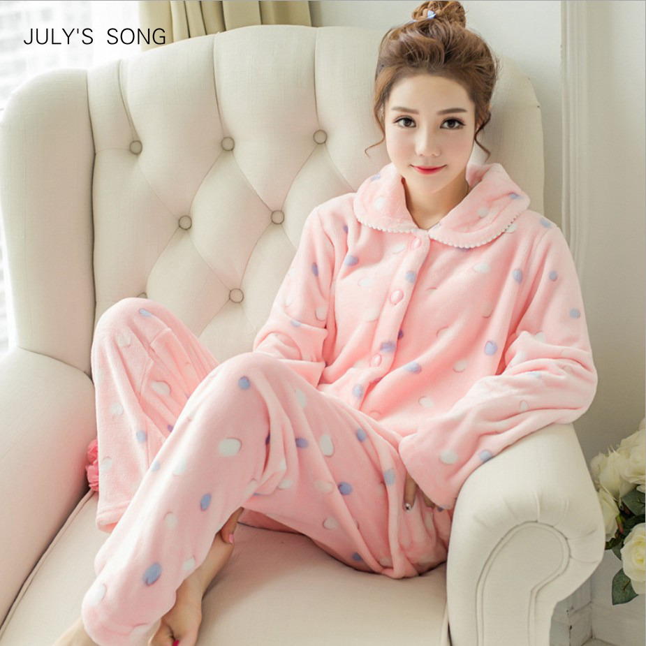 JULY'S SONG Winter Pajamas Set Women Sleepwear Warm Flannel Long Sleeves Pajamas Pink Cute  Animal Homewear Thick Home Suit