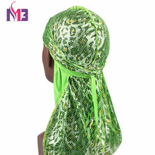 Unisex Men Silk Durag Snake Shiny Print Bandanas Long Tail Straps Wave Hair Accessories Cover Do Du Rags Turban Hat