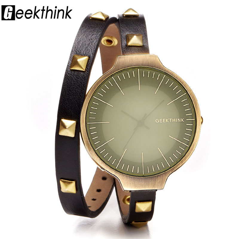GEEKTHINK Fashion Retro Women Bracelet Watches Ladies Casual Leather Quartz Dress Watch Female Clock Relogio Feminino saat miler vintage fashion watch women retro leather strap world map casual quartz wristwatch ladies creative clock relogio feminino