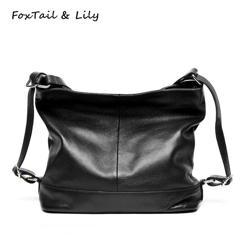 FoxTail & Lily Soft Leather Backpack Women Shoulder Bags High Quality Genuine Leather School Backpacks for Girls Casual Style women genuine leather backpack school bags for girls high quality fashion korean backpacks student bookbag free shipping