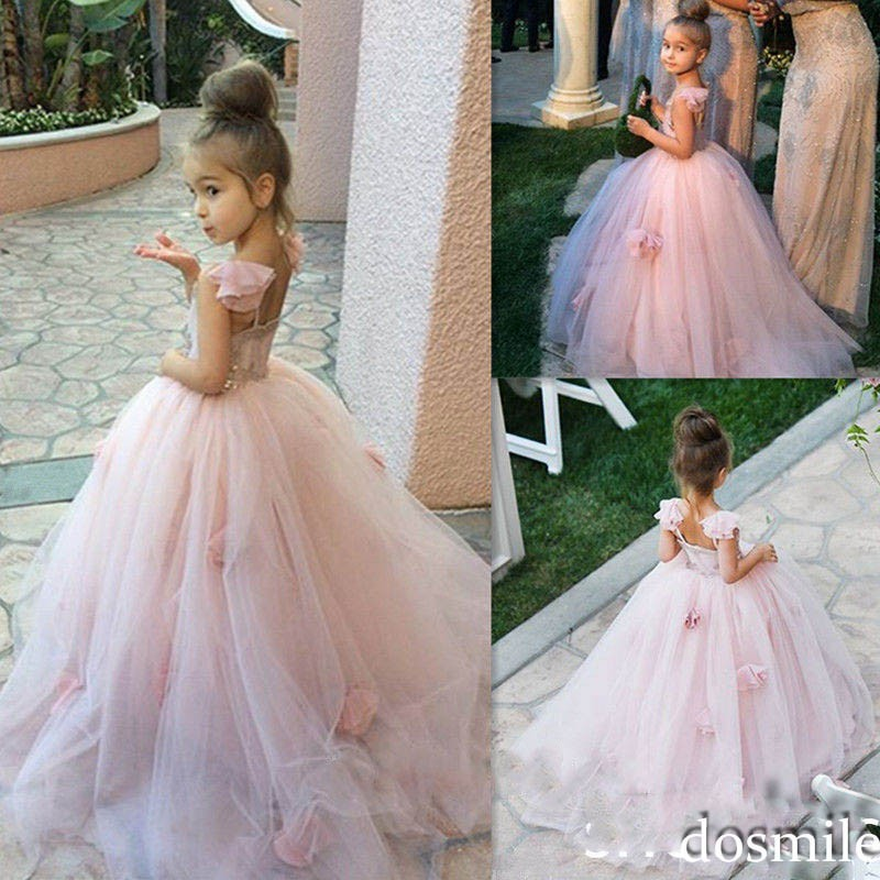 New 2018 Children Clothing Sequins Lace Sleeveless Dress Nude Pink Flower Formal Pageant Show Girls Fluffy Wedding Dress GDR387 pink gorgeous lace see through sleeveless mini dress