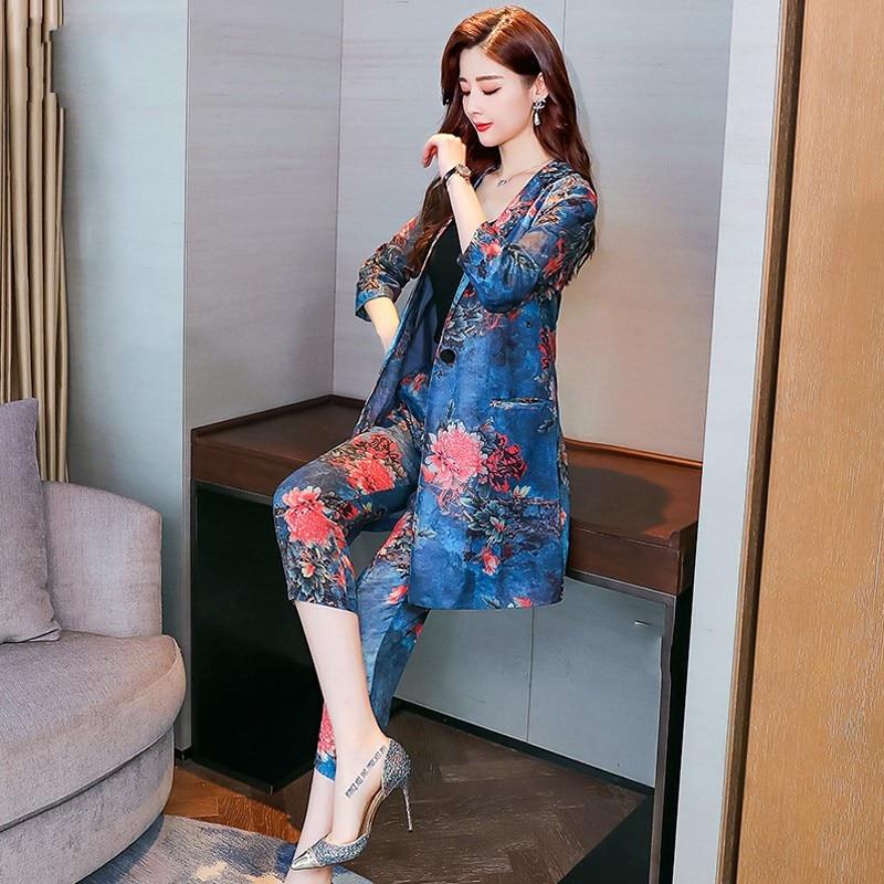 Blazer Femmes Ensemble Seul Imprimé Affaires Pièces 2 De Travail Pantalon Costume Model Bouton Floral Designer Deux Formelle Moulant Tenues Vêtements Lâche YfvI7gb6y