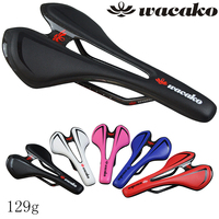 Wacako Carbon Saddle Ultralight 129g Full Carbon Fiber Genuine Leather Bicycle Saddle MTB Road Cycling Bike