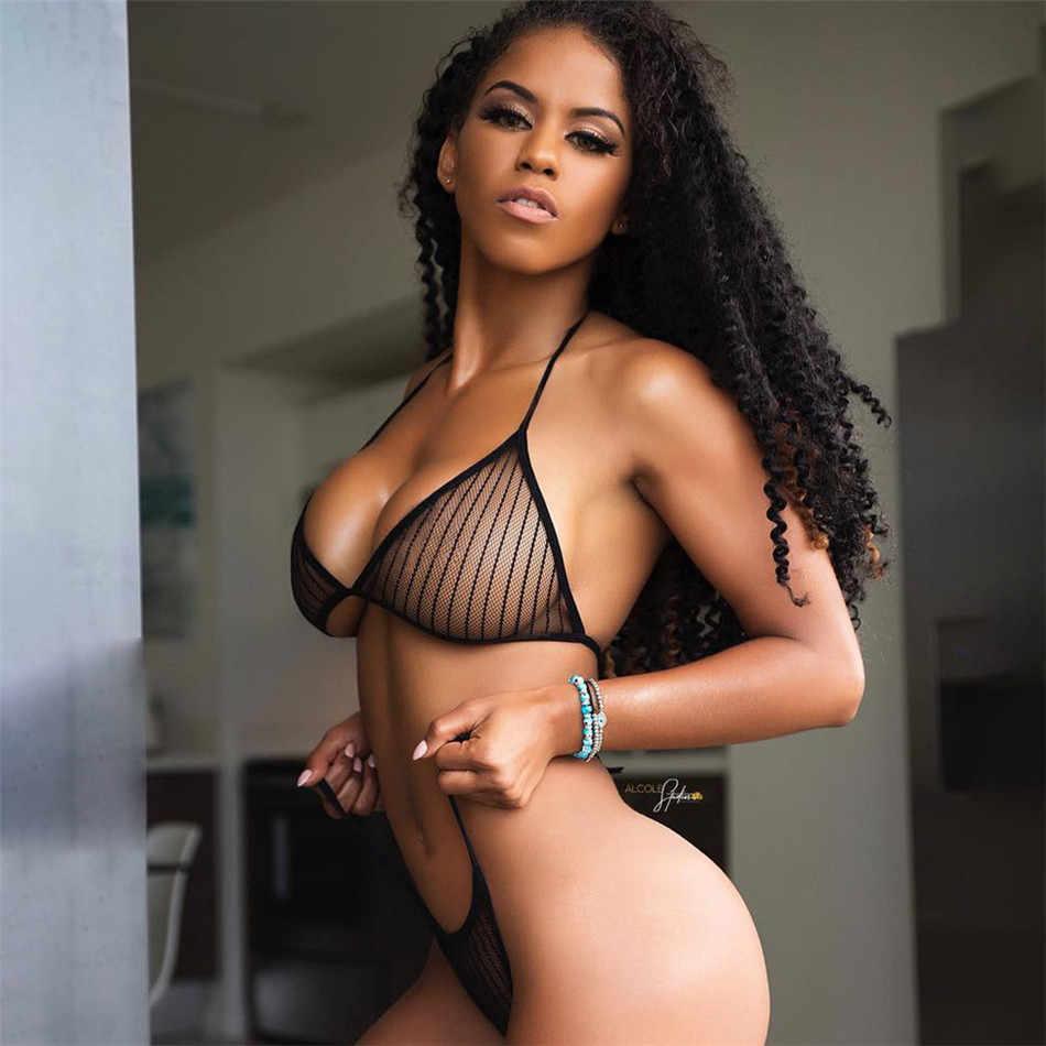 See Through Mesh mikro bikini seti kadın 2019 brezilyalı şeffaf bikini seks yüzmek Lingeries mayo kadın mayo kostüm
