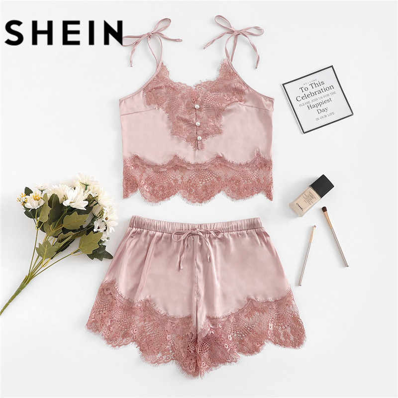 SHEIN Women Sexy Pajamas Sets Lace Silk Satin Pajamas 2018 Summer New Style  Lingerie Women Spaghetti