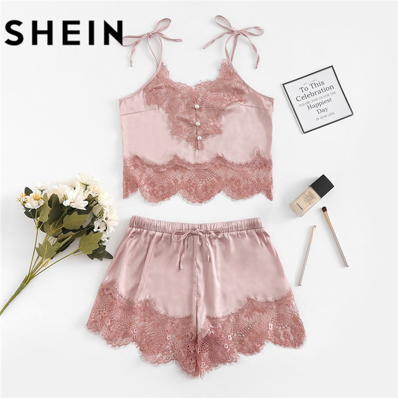 SHEIN Women Sexy   Pajamas     Sets   Lace Silk Satin   Pajamas   2018 Summer New Style Lingerie Women Spaghetti Strap Sleeveless Nightwear