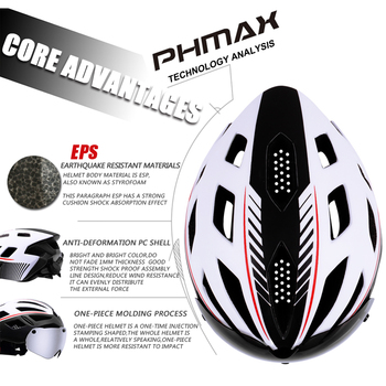 PHMAX 2019 Bicycle Helmet EPS Insect Net Road MTB Bike Windproof 2 Lenses Integrally-molded Helmet Cycling Casco Ciclismo 1