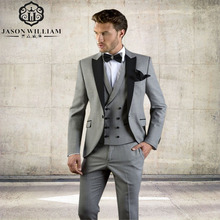 LN140 Grey Men Suit Slim Fit Jacket With Black Tuxedo Custom Made Blazer Wedding Groom Suits 2018 (Blazer+Pants+Vest)