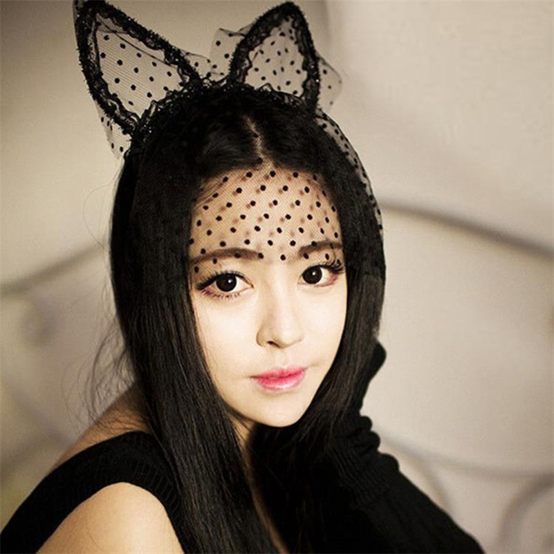 Black Dot Cat Ears Sexy Mask Gauze Adult game brinquedos sexuais harness juguetes fetish erotic For
